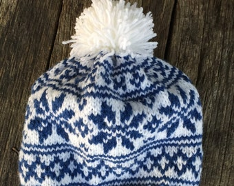 Handmade Norwegian Nordic Ski Hat. Wool, Wool Blend or Acrylic Yarn. Great Winter Hat.  Warm and great looking.  Double Snowflake design.