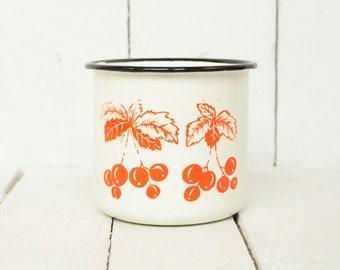 Tasse d'émail pépinière émail cru tasse émail soviétique coupe enfants mug ferme rustique de tasse mug vintage russe soviétique enamelwar d'émail