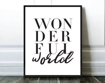Wonderful World Print, Typography Print, Affiche Typographie, Black And White, Blanc et Noir, Digital Download, Affiche Moderne, Modern