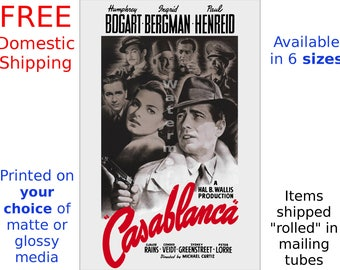 Casablanca #1 - Vintage Film / Movie Poster - Bogart, Bergman (505479659)