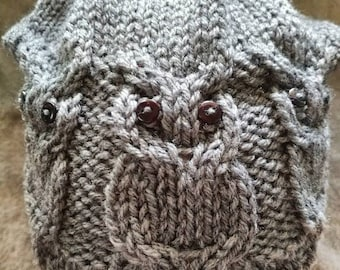 Adult's Owl Knit Slouchy Hat