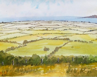 English Cornish landscape original watercolor painting Cornwall painting english countryside painting english decor english watercolour
