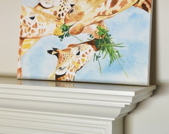 Giraffe #2 Original Painting gratitude, gouache watercolor, large art on canvas, 16x20