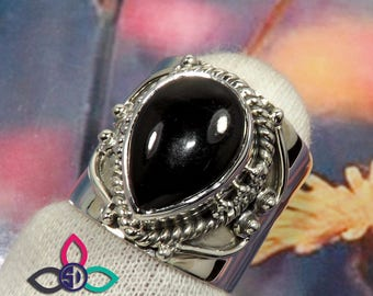 Black Onyx Ring, Onyx Ring, 925 Sterling Silver, Women Ring, Hammered Ring, Women Gift, Black Friday Sale, Solid Silver Ring, Gift For Her