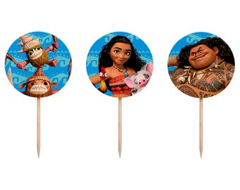 MOANA cupcake toppers, Moana cupcake toppers, Moana party, Moana decoration, Moana tableware, Moana Party, Moana Birthday Party
