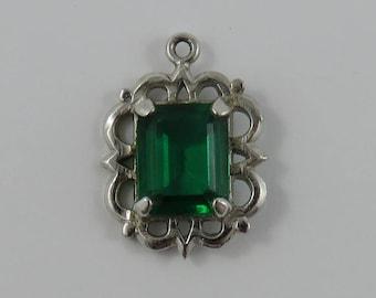 Green May Birthstone Sterling Silver Vintage Charm For Bracelet