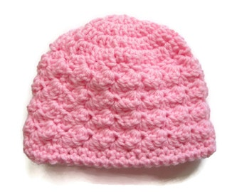 Baby Hat Girl, 3-6 Month, Crocheted, Pink Baby Beanie, Crochet Baby Clothes