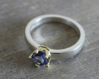 Tanzanite 18kt Gold Sterling Silver Ring - Engagement Ring - Mixed Metal Ring- Gemstone Ring -  Handmade Ring - Bridal Jewelry - Tanzanite