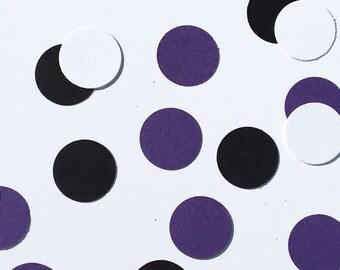225 Black White Purple Confetti Birthday Confetti Shower Confetti Wedding Polka Dot Confetti Black Confetti White Confetti Purple Confetti