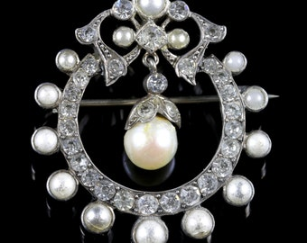 Antique Edwardian Pearl Paste Garland Brooch Circa 1910