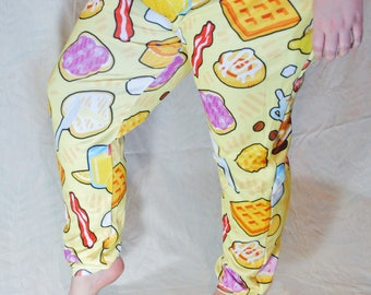 Breakfast Pajama Pants! Stretchy & Comfy Jogger Style Pants with Drawstring and Pockets