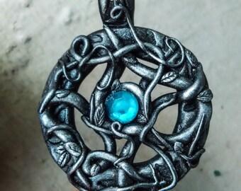 Gothic amulet, fantasy pendant, witch pendant, dark fantasy, woodland jewelry