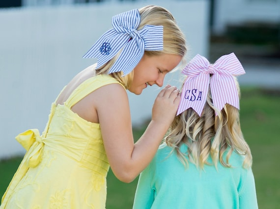 Monogrammed Hair Bows - 18 Color Options INCLUDING SEERSUCKER