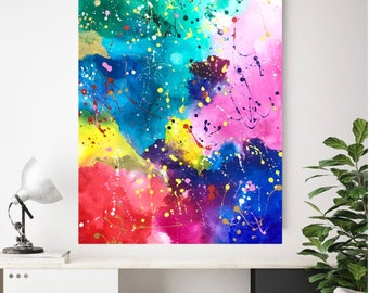 Large Wall Art Multicolored Abstract Painting, 50x70cm by Art by Asma