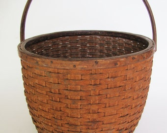 19th Century American New England Handled Gathering Basket ON SALE Best Price