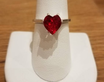 Custom 8mm Heart Shapped Swarovski and .925 Sterling Silver Ring - Pick your stone color and size