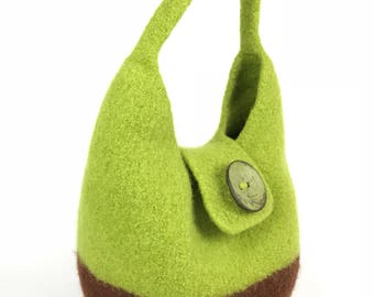 Hand Knit Bag, Felted Bag, Knit Felted Bag in Brown and Green, Button Flap Bag, Felted Wool Purse