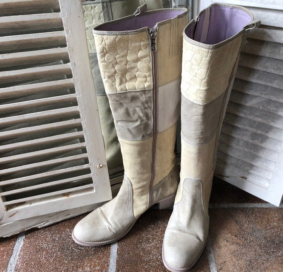 model patchwork size 40 D'Angelo ROBERTO women's Italy high leather boots vintage wYnq4T