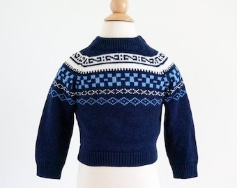 """SALE Vintage 1960s Boys Approx Size 2T Knit Sweater / JcPenney Toddletime Nordic Fair Isle Pullover Sweater / chest 22"""" length 12.5"""""""