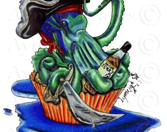 Pirate Octopus Cupcake Captain