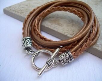 Womens  Leather Bracelet , Metallic Copper, Triple  Wrap, Triple Strands, Leather Bracelet, Womens Bracelet, Womens Jewelry, Womens Gift