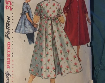 Vintage 50s 1950s Housecoat, Robe, Smock House Dress Sewing Pattern Simplicity 1814