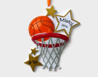 Basketball Personalized Ornament - Hand Personalized Christmas Ornament