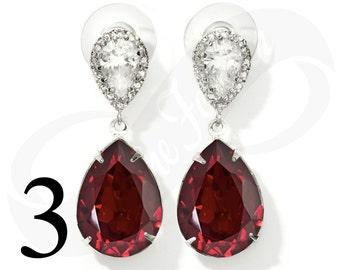 Set of 3 Bridesmaid Ruby Earrings Red Earings Set of 3 Bridesmaid Gifts Teardrop Earings Red Bridal Jewelry Wedding Jewelry Gift