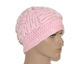 Brain Hat,Brain Beanie,thinking cap,Unisex crochet Beanie Scientist hat,brain ,Handmade,March for Science,Pink brain hat,brain lobes - Sale