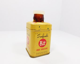 Sanfords Xit Ink Eraser, Antique Tin, Vintage Amber Bottle, Red and Yellow Tin, Ink Eraser, Antique Writing, Writing Collectible, 1920s Tin