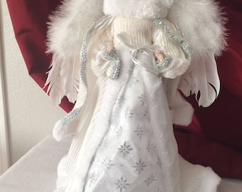 """Vtg Porcelain Face Promax Mfg Hooded White Angel Real Feathers Tree Topper 16"""" Collectible Tree Toppers Christmas"""