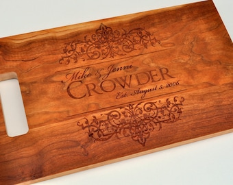 Cutting Board Personalized Cutting Board Laser Engraved Cherry 11x15 Wood Cutting Board CB1115