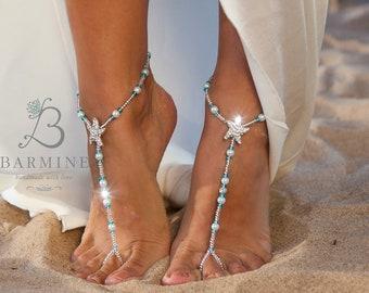 Beach wedding barefoot sandals Bridal foot jewelry Rhinestone