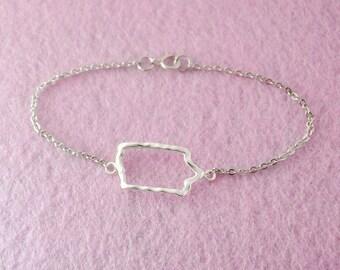 Iowa Map Bracelet,Custom Bracelet,Personalized Bracelet,Map pendant,custom jewelry,Iowa custom jewelry,Iowa Jewelry