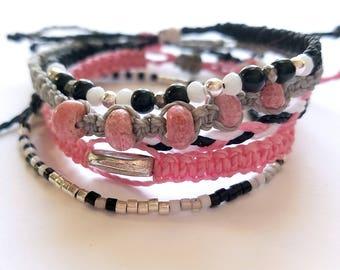 Pink, Gray, Black and White Surfer Bracelet Pack, Friendship Bracelet Set, Waterproof Wax Cord, Adjustable Boho Bracelet, Set of 5