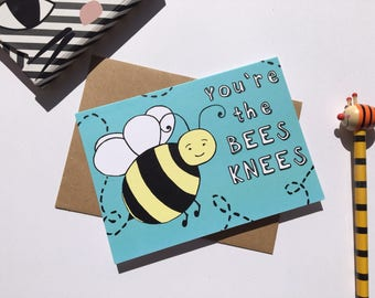 Funny Bee Thank you card - friend card - you're awesome - love card - blank card - you are the bees knees - funny bee card