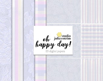Oh Happy Day! Digital Paper Pack | Scrapbook Paper | Printable Background | 05 JPG, 300dpi files.