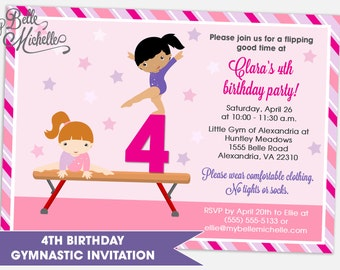 4th Birthday Gymnastic Birthday Party Invitation - Digital File You Print