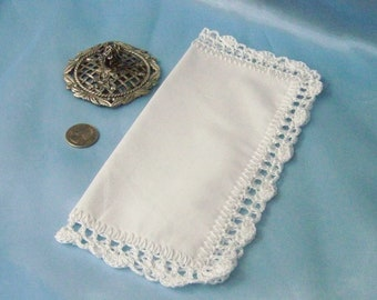 Purse Sized Handkerchief, Small Hanky, Petite Hankie, Hand Crochet, All white, Bridal Keepsake, Lace, Wedding Hanky, Ready to ship