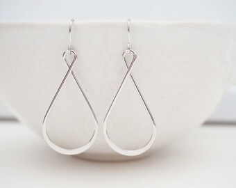 Silver Twist Teardrop Earrings