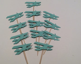 Aquamarine  Airplane cupcake toppers. Vintage style Airplane Partypicks, Party decor, baby shower, happy birthday, Baby shower, 12 per order