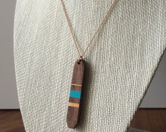 Double Sided Wood Pendant - Wood Bar Necklace - Unique Wood Gifts - Nature Wedding - Bridesmaid Gift - 5th Anniversary Gift - Reclaimed Wood