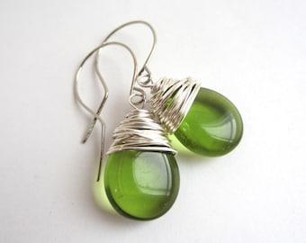 Green Earrings Wire Wrapped Earrings Green Jewelry Green Dangle Earrings Olivine Czech Glass Earrings Christmas Jewelry