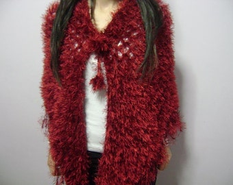 Hand Crochet Shawl - Burgundy Crochet Shawl - Gifts for mom , A shawl woven with a hairy rope.