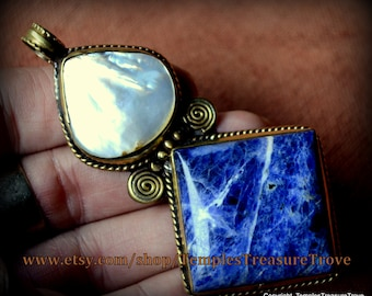 Large Nepalese Artisan Handcrafted Brass Pearl Sodalite Focal Bead with ALL Proceeds Going to Relief Efforts to Nepal Earthquake Victims