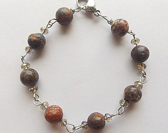 Leopard Jasper Bracelet, Earthtone Stone, Stainless Steel, Multi Colored, Crystal, Jasper and Crystal, Stainless Steel Jewelry