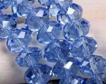 Clear 6 * 8mm blue faceted glass beads