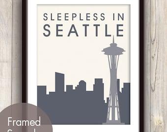 Sleepless in SEATTLE - Unframed Art Print (featured in River Rock) Seattle Washington Space Skyline / Needle Print