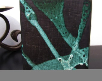 VINTAGE VASE :  One of a Kind,  Artistic Ceramic Black and Green Contemporary Vase Art Piece