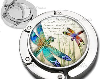 Floral Dragonflies Purse Hook Bag Hanger Lipstick Compact Mirror